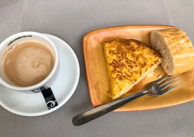 Spanish omelet with a cup of coffee