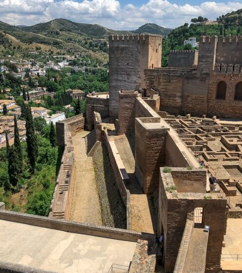 view of Granada in Alcazaba in the Alhambra