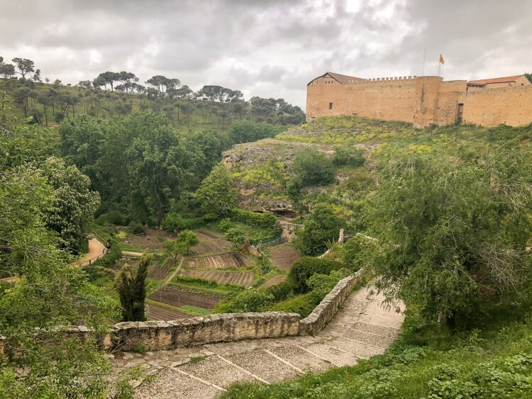 Countryside view of city walls with alcazar in background