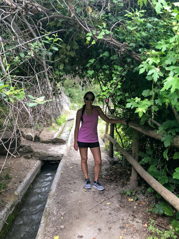 Kristen posing on los charros trail in Sierra Nevada