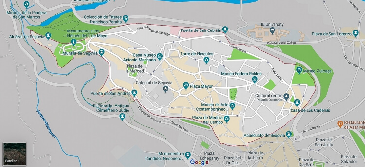 Map of Segovia showing where to go when on a visit