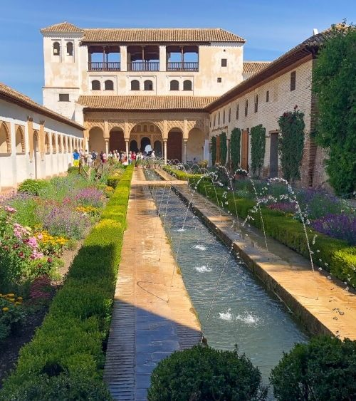 main view in the generalife gardens in the Alhambra