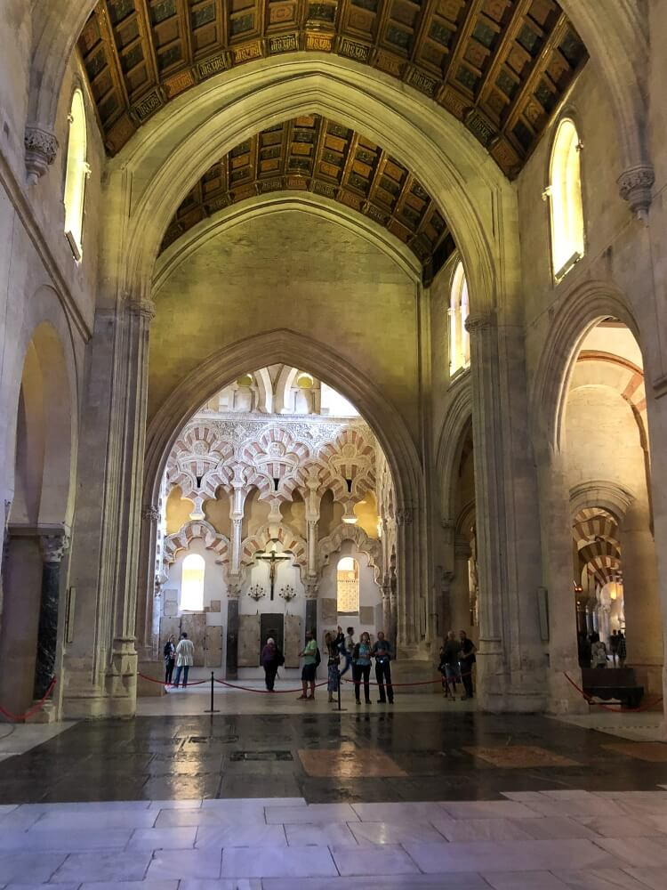 high ceilings inside the Mezquita