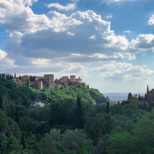 view of Alhambra from Sacromonte in granada Spain