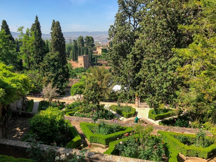 View of the many gardens in gardenlife at the Alhambra