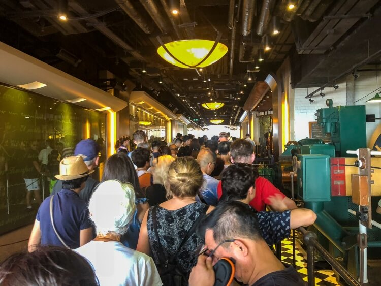 The long line for the Victoria peak tram