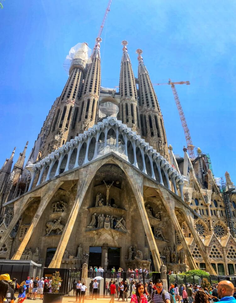 Front view of Sagrada Familia in a weekend in Barcelona
