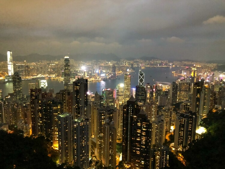 Hong Kong illuminated at night from Victoria peak
