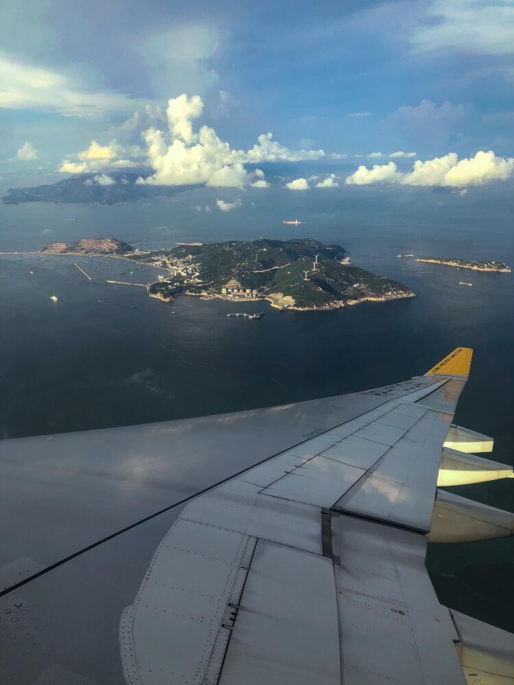 Hong Kong island from an airplane window