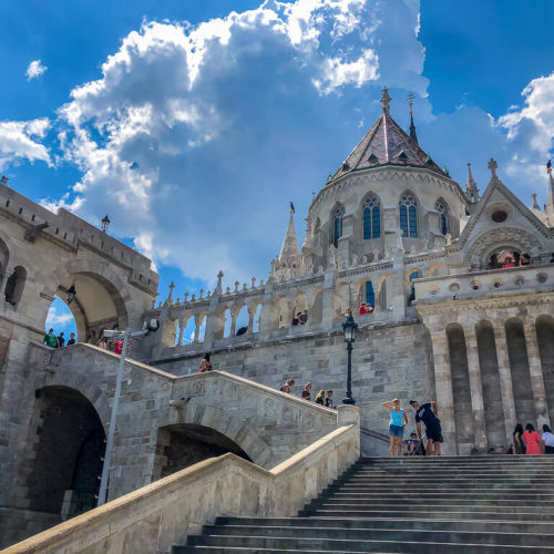Fishermans Bastion view from stairs in Budapest