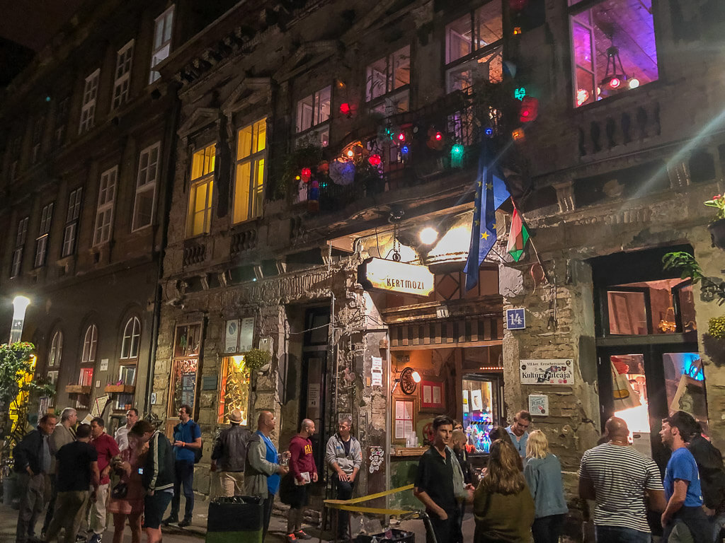 Szimpla Kert ruin bar entrance at night with line