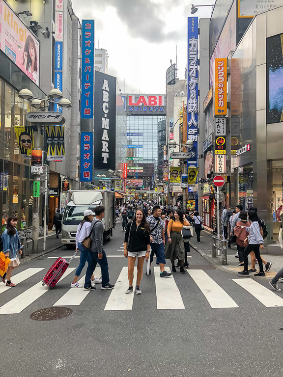 Kristen lost among thousands of people in streets of tokyo