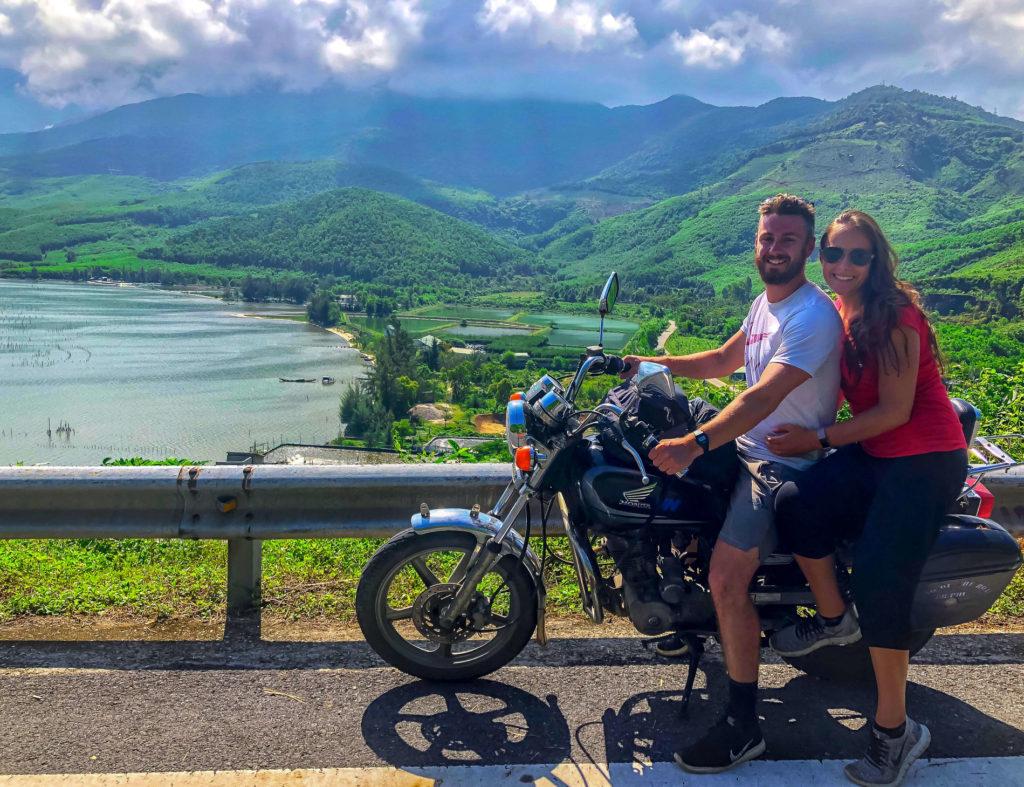 Mark and Kristen on motorbike Hai Van Pass Vietnam