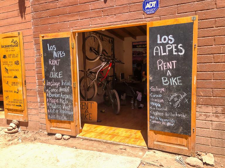 bike hire shop in San Pedro for valle de la luna