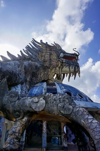 Details and intricacies of the dragon design at old water park