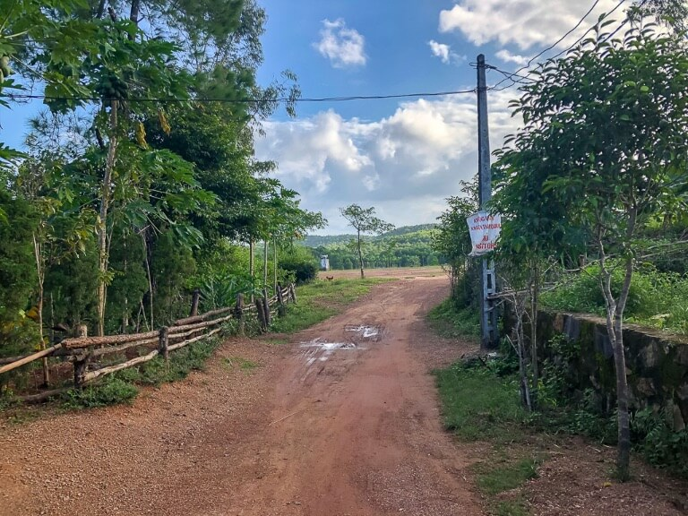 End of the dirt road leading into abandoned water park hue
