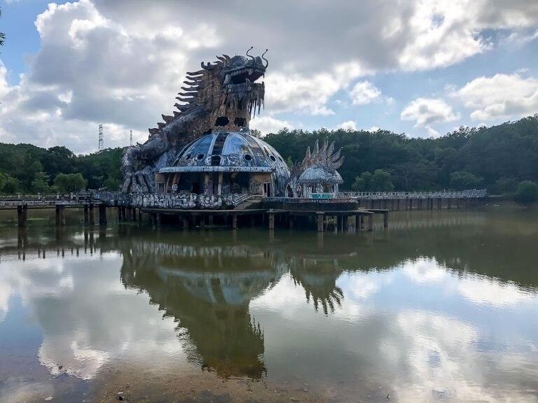 three storied dragon building at abandoned water park hue