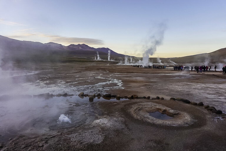 after sunrise at el Tatio geothermal field