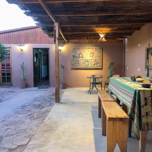 inside courtyard of hostel desert San Pedro de atacama accommodation