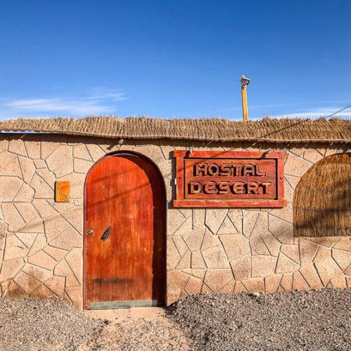 door of hostel desert on outskirts of town San Pedro