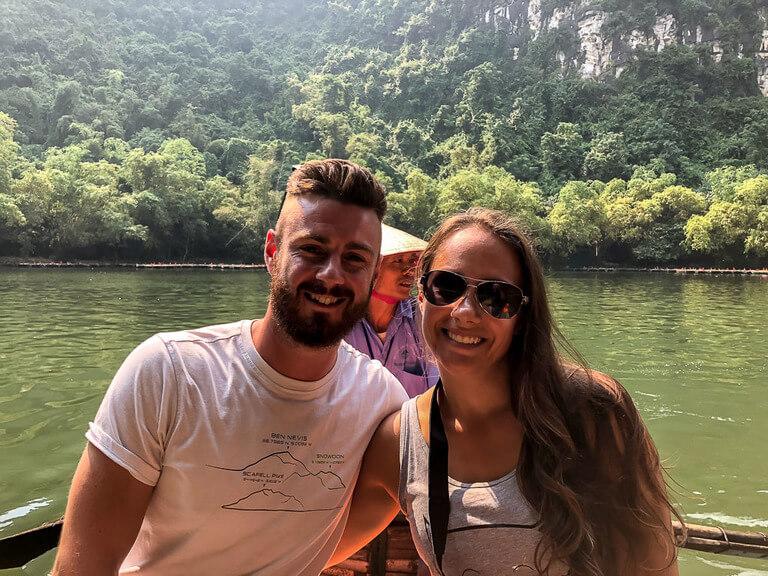 Mark and Kristen on boat at Trang An Ninh Binh