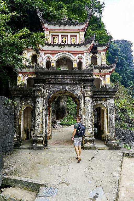 Mark at Bich Dong pagoda entrance Ninh Binh