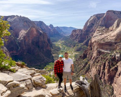 mark & kristen zion valley backdrop angels landing