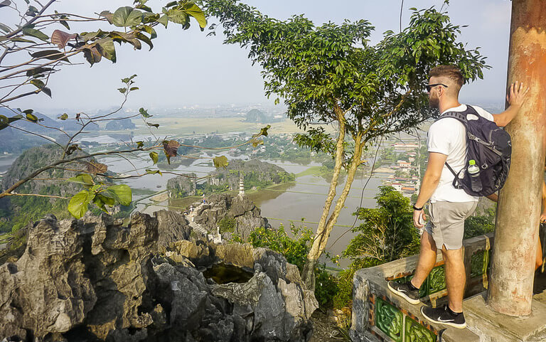 Mark at summit of Mua Cave overlooking Ninh Binh