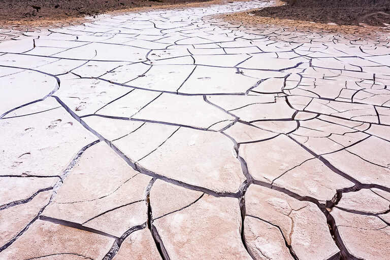 snaking dried ground full of deep cracks