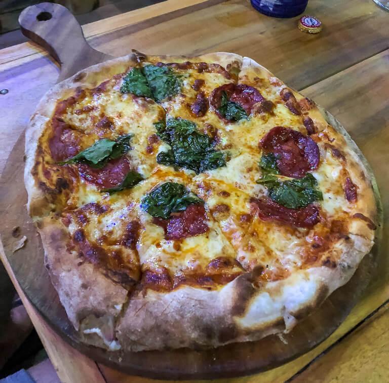 Pizza at chookies beer garden Tam Coc Ninh Binh itinerary