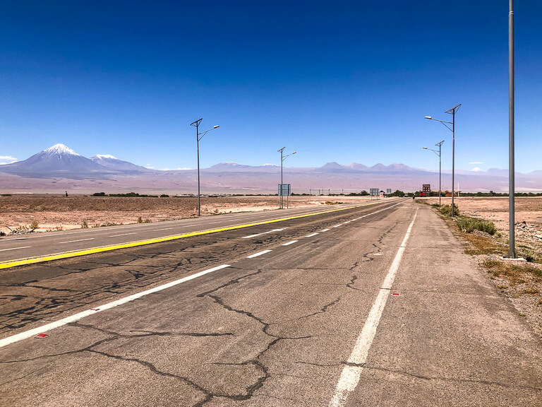 flat open road near San Pedro de atacama