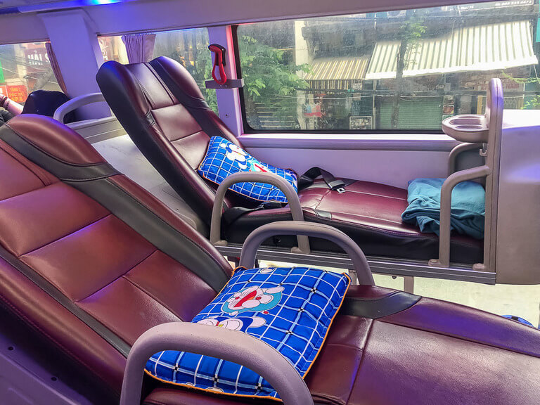 Sleeper bus interior leather reclining chairs