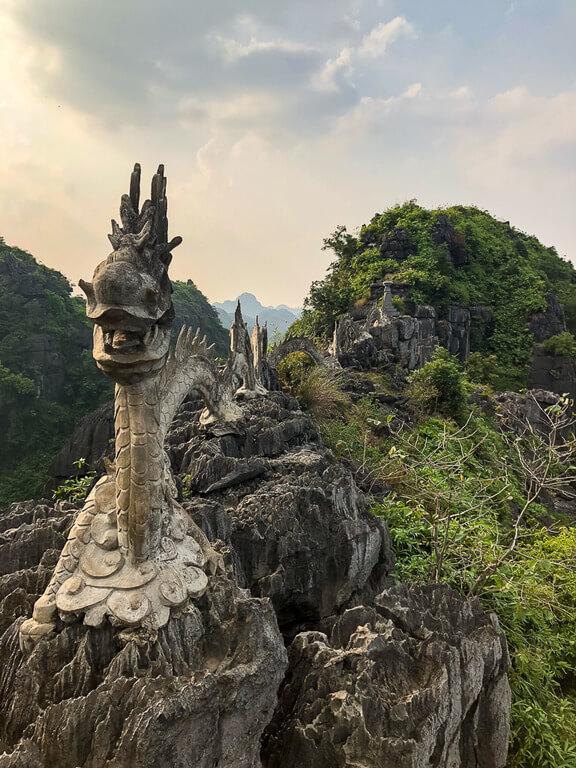 Stone dragon at the summit of Mua Cave Ninh Binh itinerary