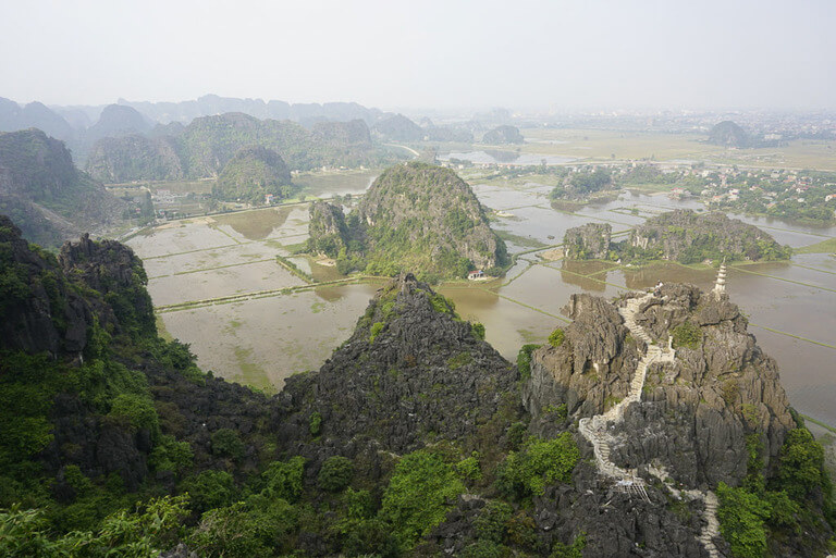 View back over Ninh Binh city and rice paddies 2 day itinerary