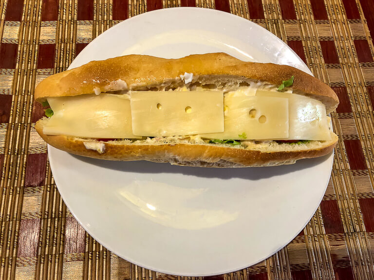 Incredible banh mi sandwich with cheese