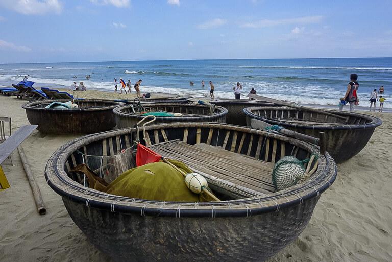 An Bang Beach Hoi An fishermen bamboo baskets on sand