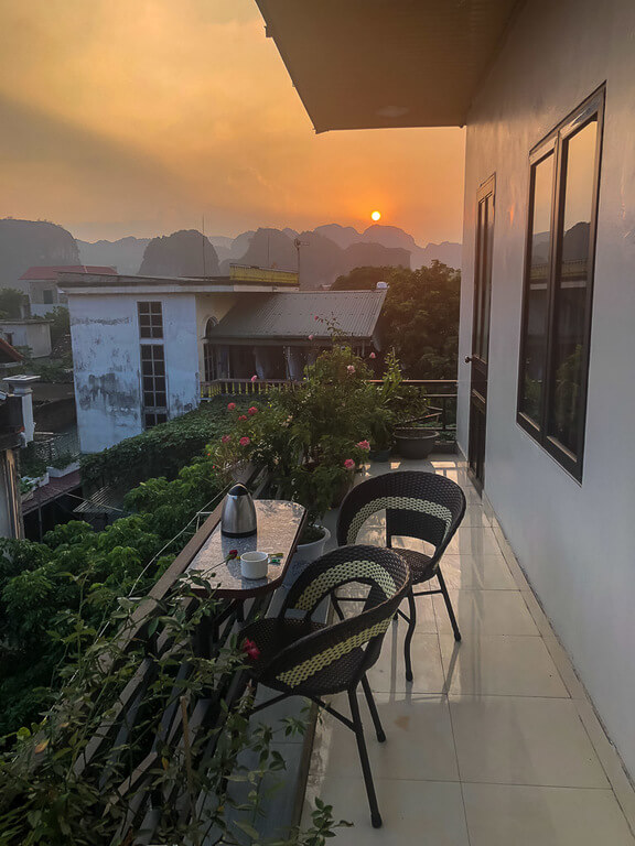 View from dream hotel balcony in Tam Coc