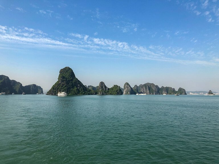 Halong Bay turquoise water and limestone rocks