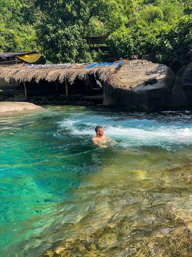 Mark swimming in elephant spring Vietnam