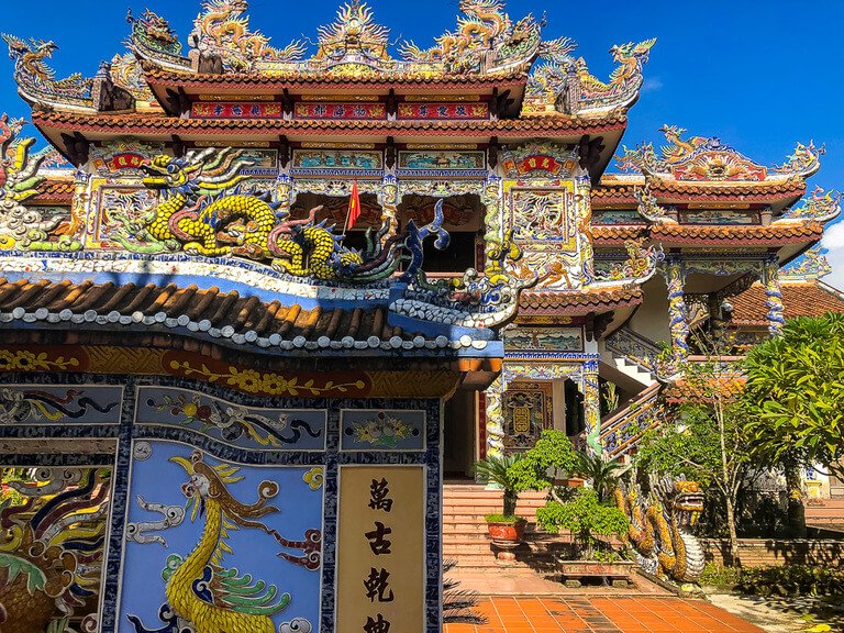 Colorfully ordained house made from glass near Hue Vietnam