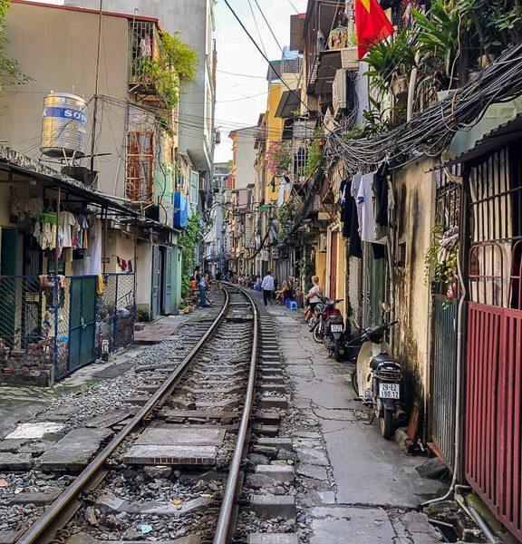 Hanoi Train Street empty track close to houses