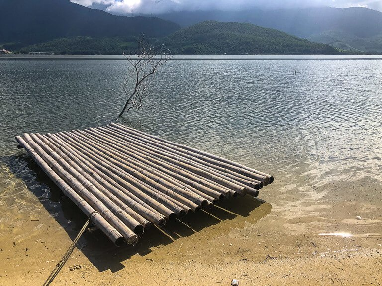 Wooden raft tied to beach and single tree branch in lake