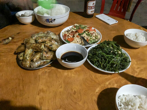 Dinner on sapa trekking tour green beans spring rolls rice