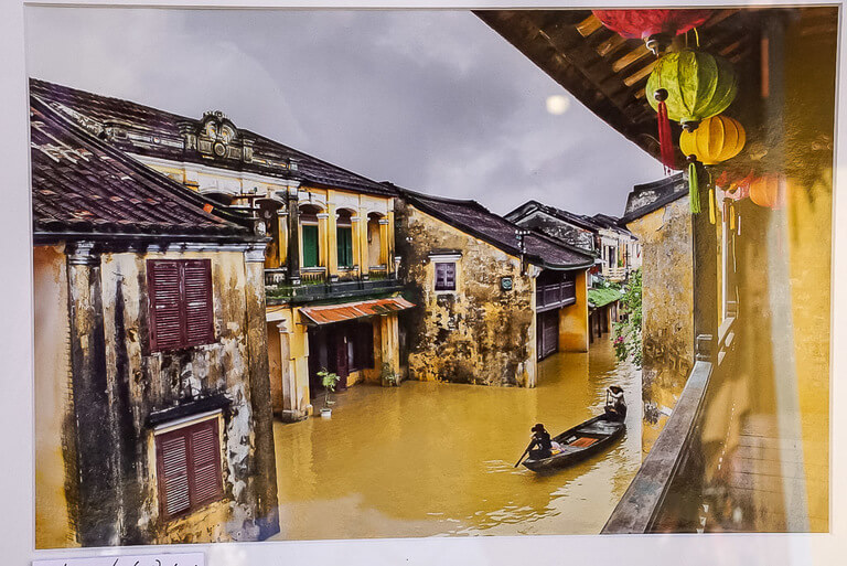 Photograph of a photograph in Hoi An of the town flooding in rainy season