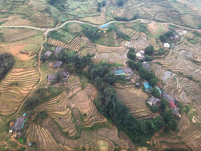 View of rice terraces from above valley sapa vietnam