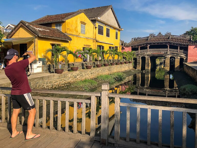 Hoi An early morning with no tourists at the Japanese bridge perfect for photography