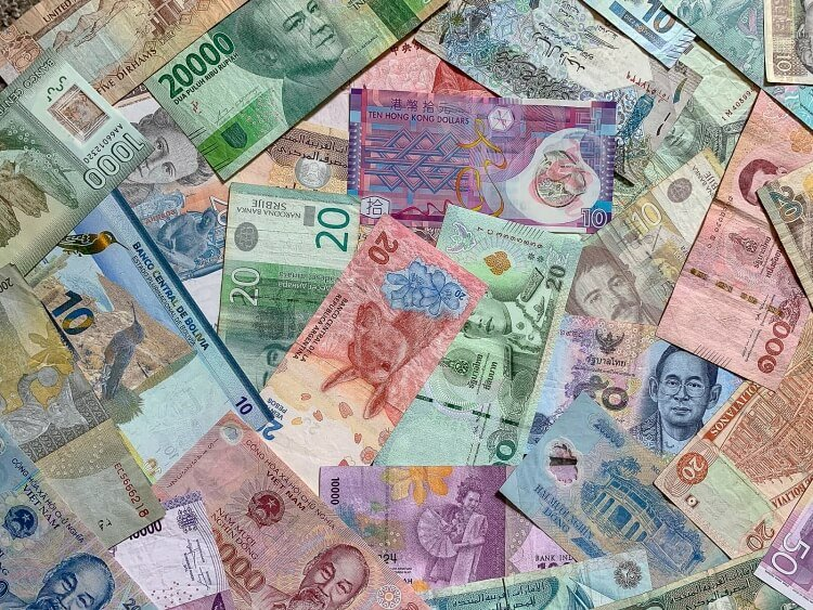 Financial wellness and travel various bank notes