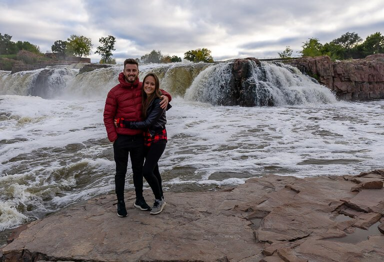 Mark and Kristen at Sioux Falls south Dakota waterfall