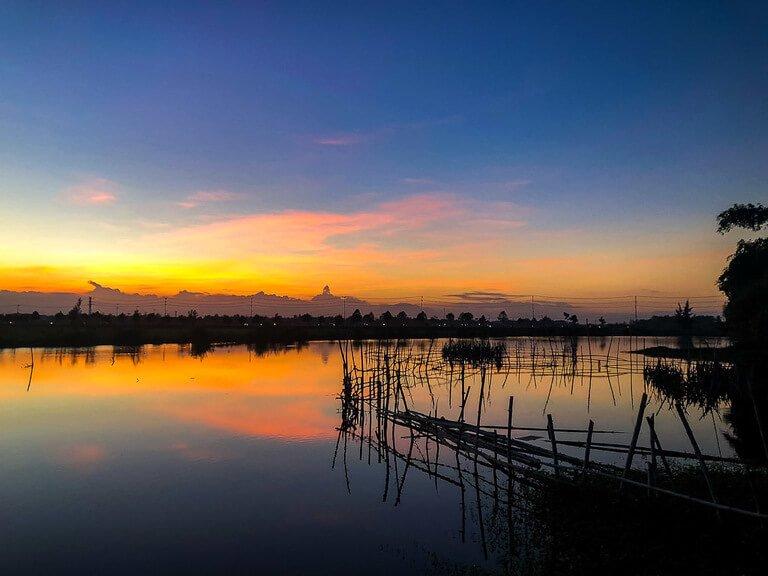 Beautiful sunset over hoi an in Vietnam