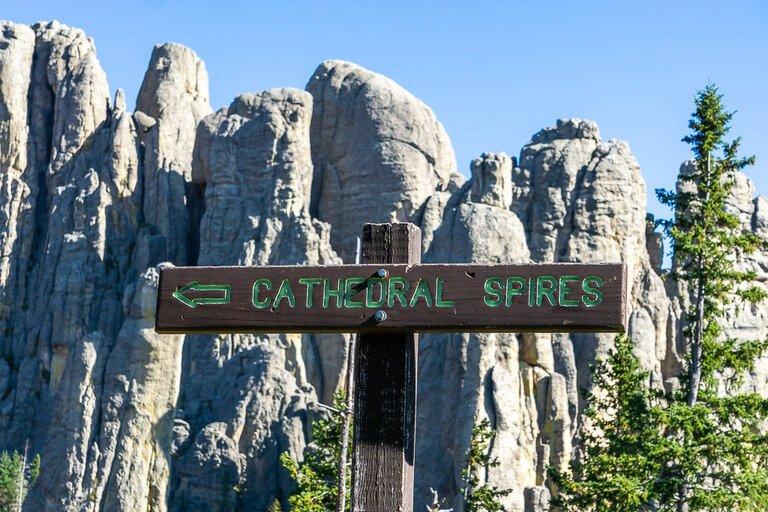 Cathedral Spires signpost black hills South Dakota